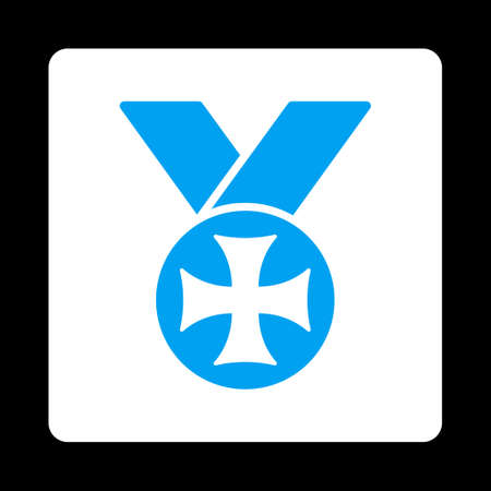 maltese: Maltese medal icon. Icon style is blue and white colors, flat rounded square button, black background.