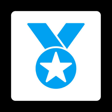 favorite number: Medal icon. Icon style is blue and white colors, flat rounded square button, black background.