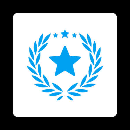 laureate: Proud icon. Icon style is blue and white colors, flat rounded square button, black background. Illustration