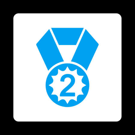 favorite number: Second place icon. Icon style is blue and white colors, flat rounded square button, black background.