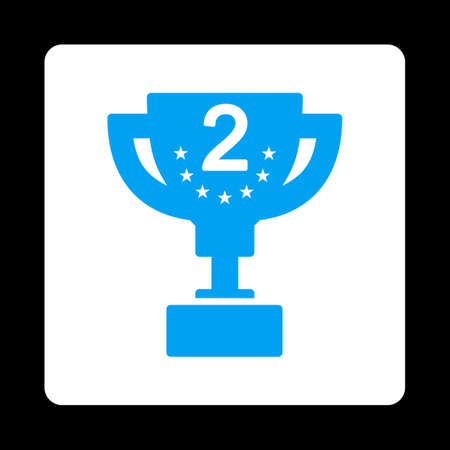 second prize: Second prize icon. Icon style is blue and white colors, flat rounded square button, black background. Illustration