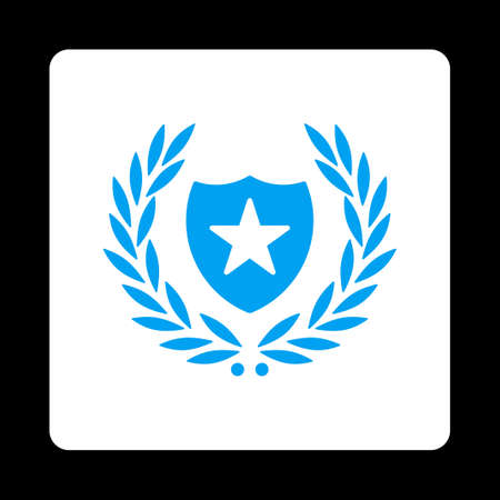 laureate: Shield icon. Icon style is blue and white colors, flat rounded square button, black background.