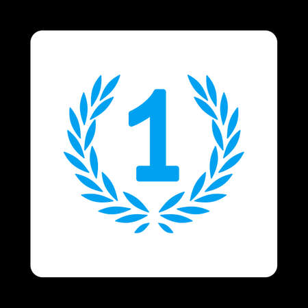 cognizance: Win icon. Icon style is blue and white colors, flat rounded square button, black background.