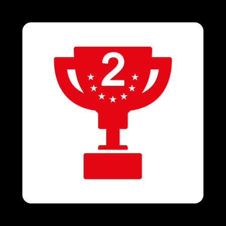 second prize: Second prize icon from Award Buttons OverColor Set. Icon style is red and white colors, flat rounded square button, black background.