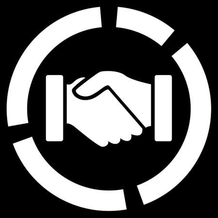 acquisition: Acquisition diagram icon from Business Bicolor Set. Vector style is flat symbol, white color, rounded angles, black background. Illustration