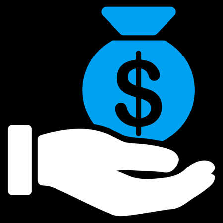 passive earnings: Payment icon. This flat raster symbol uses blue and white colors, rounded angles, and isolated on a black background.
