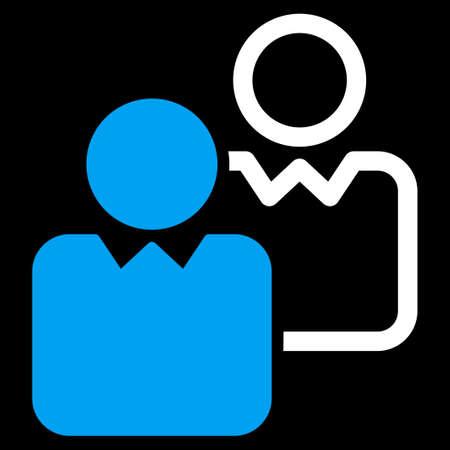 director de escuela: Clientes icono. Este símbolo de la trama plana utiliza los colores azul y blanco, ángulos redondeados y aislado en un fondo negro.