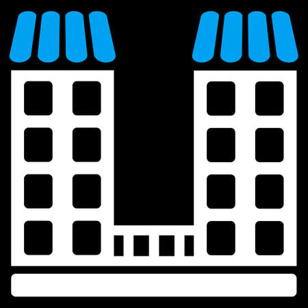 corporative: Company icon. This flat raster symbol uses blue and white colors, rounded angles, and isolated on a black background.