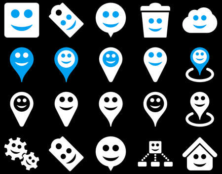 gear box: Tools, emotions, smiles, map markers icons. Vector set style is bicolor flat images, blue and white symbols, isolated on a black background.