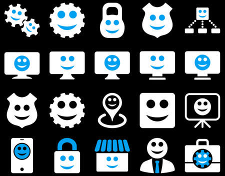 setup man: Tools, gears, smiles, dilspays icons. Vector set style is bicolor flat images, blue and white symbols, isolated on a black background.
