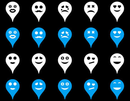 map marker: Emotion map marker icons. Vector set style is bicolor flat images, blue and white symbols, isolated on a black background.