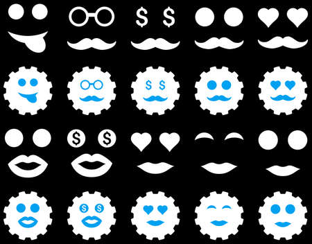 prostitute: Tool, gear, smile, emotion icons. Vector set style is bicolor flat images, blue and white symbols, isolated on a black background. Illustration