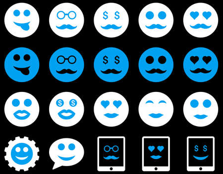 blind woman: Smile and emotion icons. Vector set style is bicolor flat images, blue and white symbols, isolated on a black background.