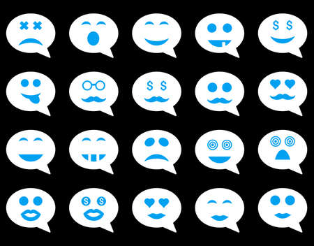 oldman: Chat emotion smile icons. Vector set style is bicolor flat images, blue and white symbols, isolated on a black background. Illustration