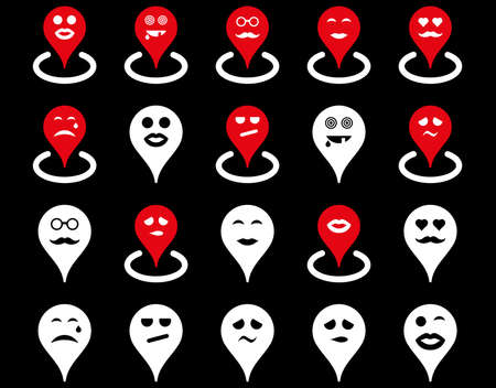 sexy couple black background: Smiled location icons. Glyph set style is bicolor flat images, red and white symbols, isolated on a black background.