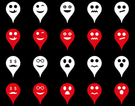 bad fortune: Emotion map marker icons. Glyph set style is bicolor flat images, red and white symbols, isolated on a black background.