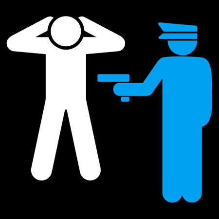 arrest: Arrest icon. This flat vector symbol uses blue and white colors, rounded angles, and isolated on a black background.
