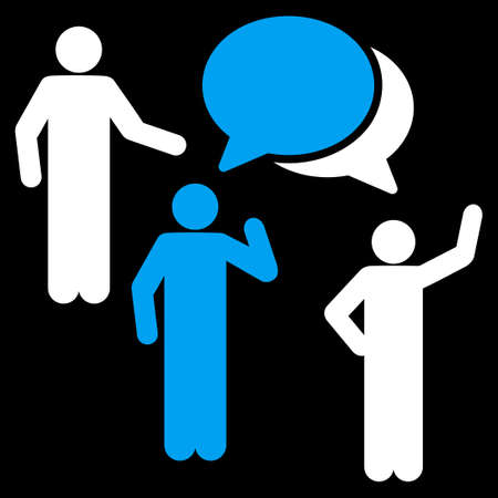 family discussion: Forum icon. This flat vector symbol uses blue and white colors, rounded angles, and isolated on a black background.
