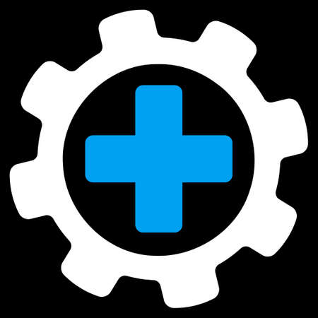 gear wheel: Medical settings icon. This flat vector symbol uses blue and white colors, rounded angles, and isolated on a black background. Illustration
