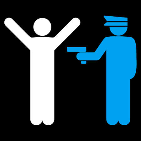 arrested: Police icon. This flat vector symbol uses blue and white colors, rounded angles, and isolated on a black background.