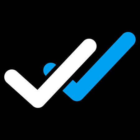 validation: Validation icon. This flat vector symbol uses blue and white colors, rounded angles, and isolated on a black background.
