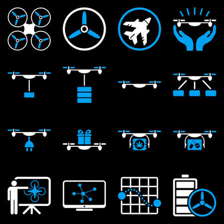 usaf: Drone shipment icon set designed with blue and white colors. These flat bicolor pictograms are isolated on a black background.