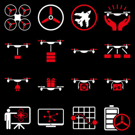 airflight: Drone shipment icon set designed with red and white colors. These flat bicolor pictograms are isolated on a black background.