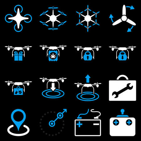 take charge: Air copter flat icon set designed with blue and white colors. These flat bicolor pictograms are isolated on a black background. Illustration
