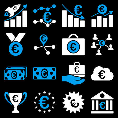 Euro banking business and service tools icons. These flat bicolor icons use blue and white. Images are isolated on a black background. Angles are rounded.