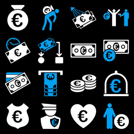 prostitue: Euro banking business and service tools icons. These flat bicolor icons use blue and white. Images are isolated on a black background. Angles are rounded.