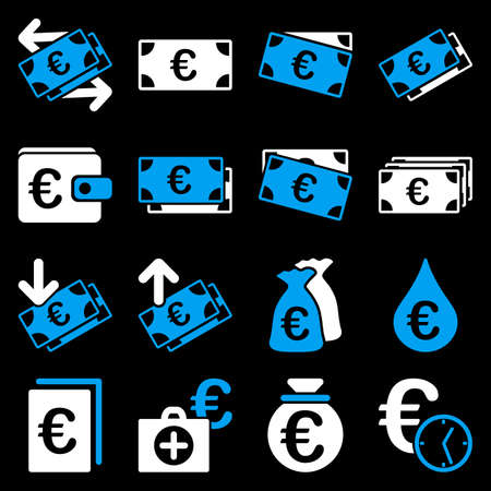 emergency cart: Euro banking business and service tools icons. These flat bicolor icons use blue and white. Images are isolated on a black background. Angles are rounded.