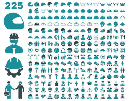 Work Safety and Helmet Icon Set. These flat bicolor icons use soft blue colors. Vector images are isolated on a white background.