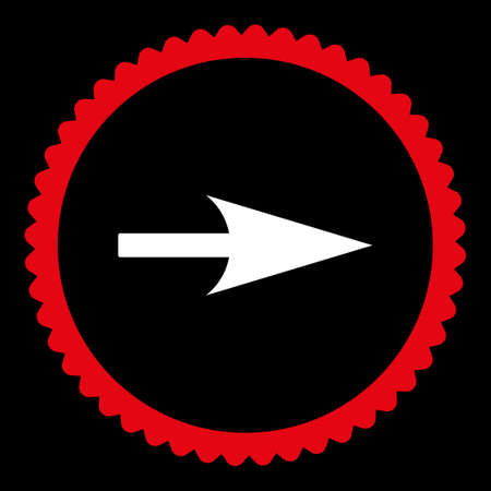 x axis: Arrow Axis X round stamp icon. This flat glyph symbol is drawn with red and white colors on a black background.