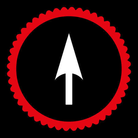 ordinate: Arrow Axis Y round stamp icon. This flat glyph symbol is drawn with red and white colors on a black background.