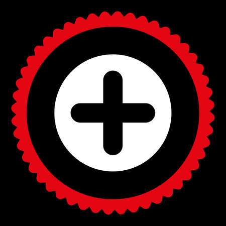 make summary: Create round stamp icon. This flat glyph symbol is drawn with red and white colors on a black background.