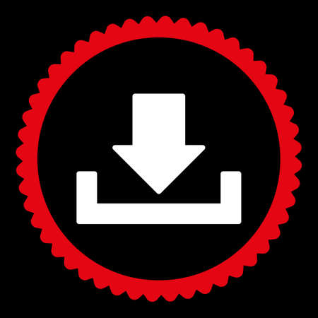 dropbox: Download round stamp icon. This flat glyph symbol is drawn with red and white colors on a black background. Stock Photo