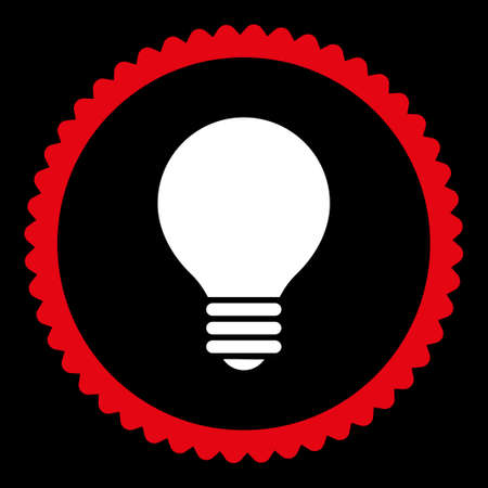 electric bulb: Electric Bulb round stamp icon. This flat glyph symbol is drawn with red and white colors on a black background. Stock Photo