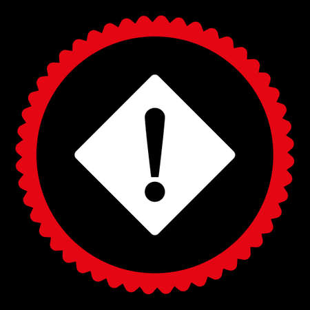 exclaim: Error round stamp icon. This flat glyph symbol is drawn with red and white colors on a black background.