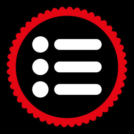 numerate: Items round stamp icon. This flat glyph symbol is drawn with red and white colors on a black background.