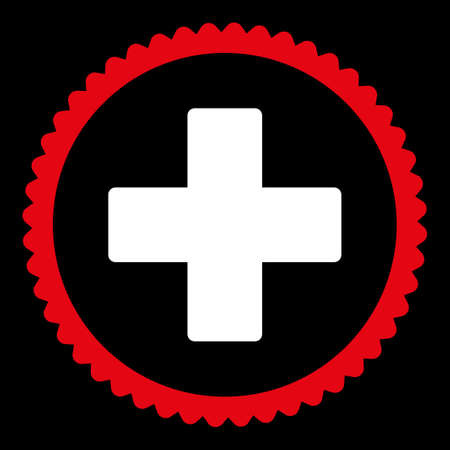 make summary: Plus round stamp icon. This flat glyph symbol is drawn with red and white colors on a black background.