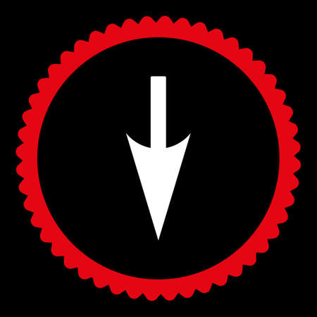y axis: Sharp Down Arrow round stamp icon. This flat glyph symbol is drawn with red and white colors on a black background.