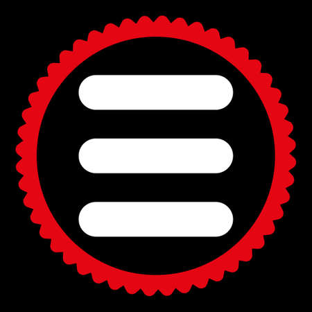 numerate: Stack round stamp icon. This flat glyph symbol is drawn with red and white colors on a black background. Stock Photo