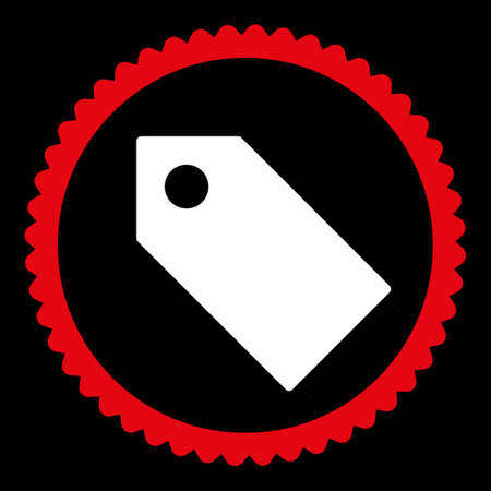 operand: Tag round stamp icon. This flat glyph symbol is drawn with red and white colors on a black background.