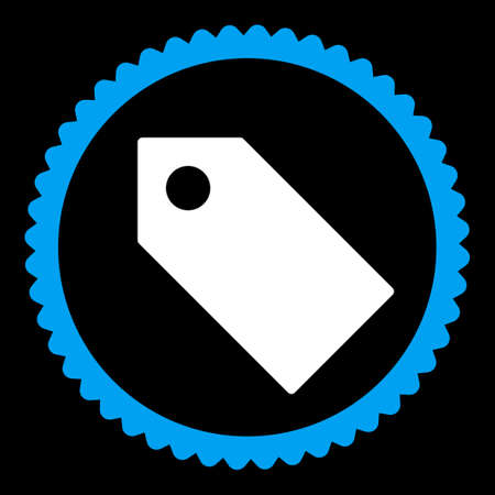 operand: Tag round stamp icon. This flat vector symbol is drawn with blue and white colors on a black background.