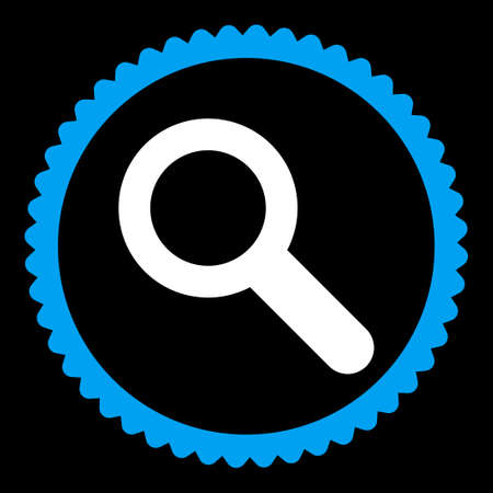 lookup: Search round stamp icon. This flat vector symbol is drawn with blue and white colors on a black background. Illustration