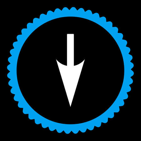 y axis: Sharp Down Arrow round stamp icon. This flat vector symbol is drawn with blue and white colors on a black background.