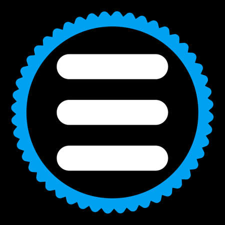numerate: Stack round stamp icon. This flat vector symbol is drawn with blue and white colors on a black background.