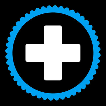 make summary: Plus round stamp icon. This flat vector symbol is drawn with blue and white colors on a black background.