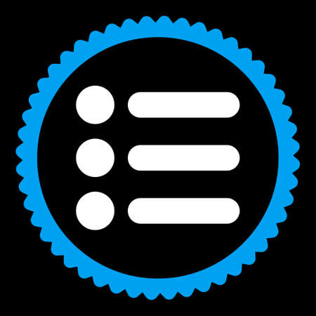 numerate: Items round stamp icon. This flat vector symbol is drawn with blue and white colors on a black background.