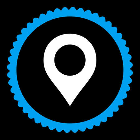 map marker: Map Marker round stamp icon. This flat vector symbol is drawn with blue and white colors on a black background.